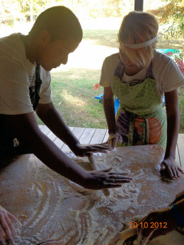 Pizza making with Igor and Kelly - NC Revolutions Retreat 2012